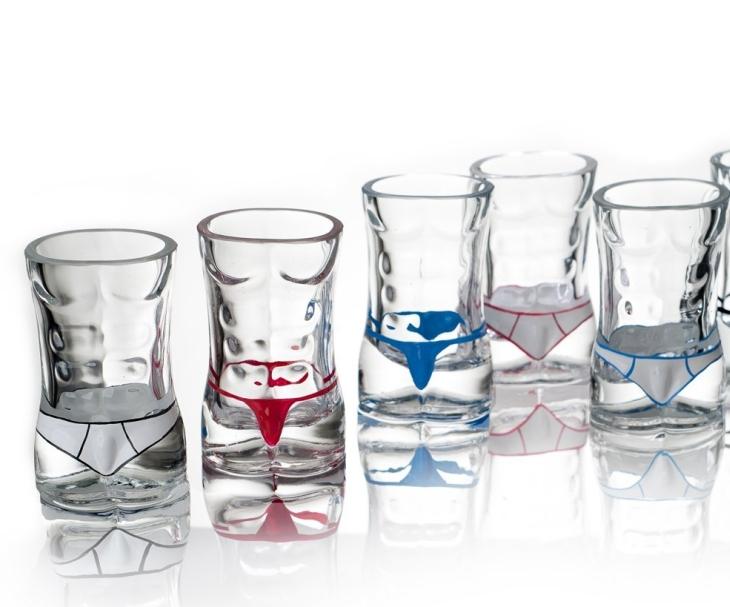 Set of 6 Male Torso Hunk Shot Glasses