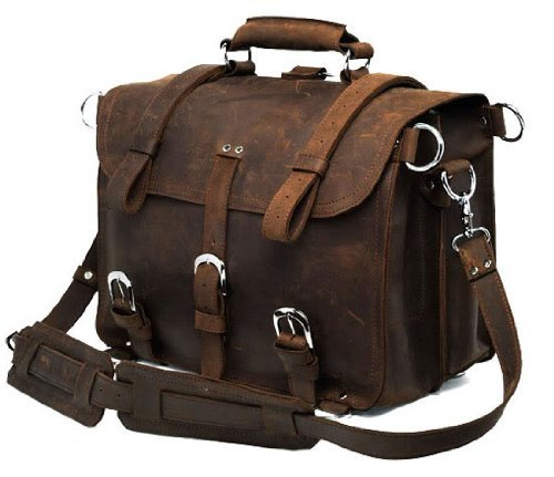 Leather Men's Briefcase Backpack Laptop Bag