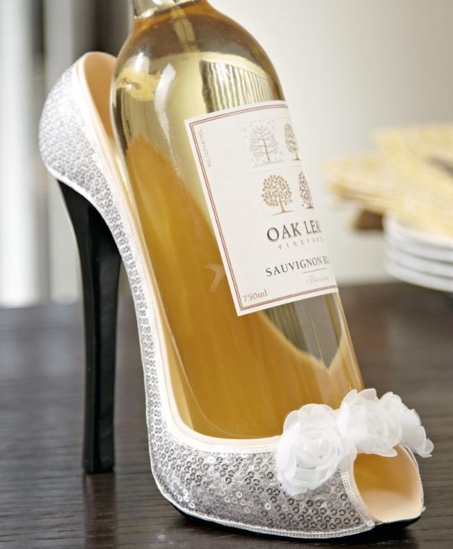 White Roses Shoe Wine Bottle Holder