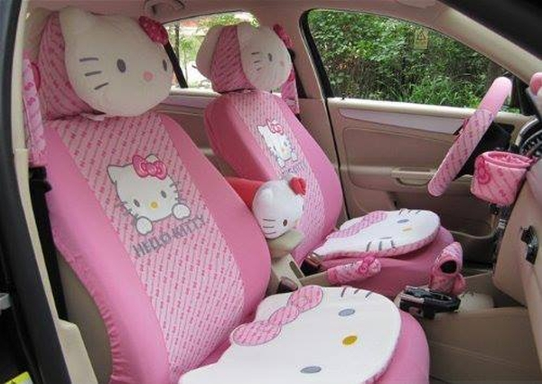 Hello Kitty Auto Car Cover Cushion Set