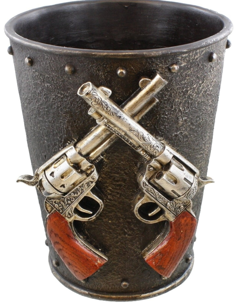 Double Pistol & Faux Cast Iron Waste Basket / Trash Can