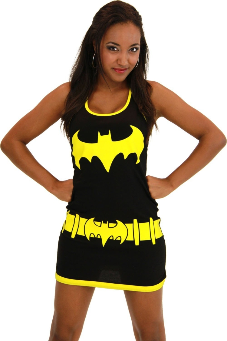 Batgirl Juniors Black Costume Tank Top Dress