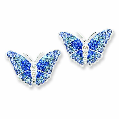 Blue CZ Butterfly Post Earrings