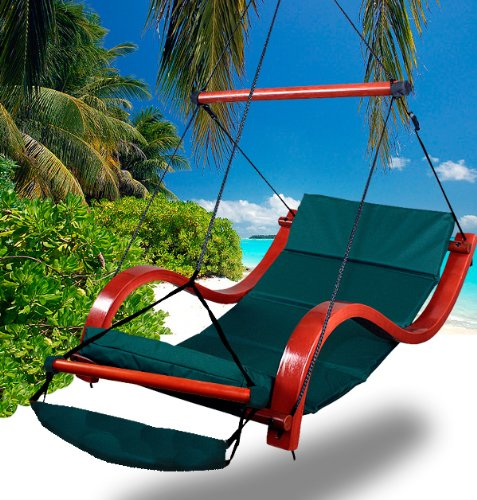 Deluxe Beach Wood Hammock Swing Lounge Chair