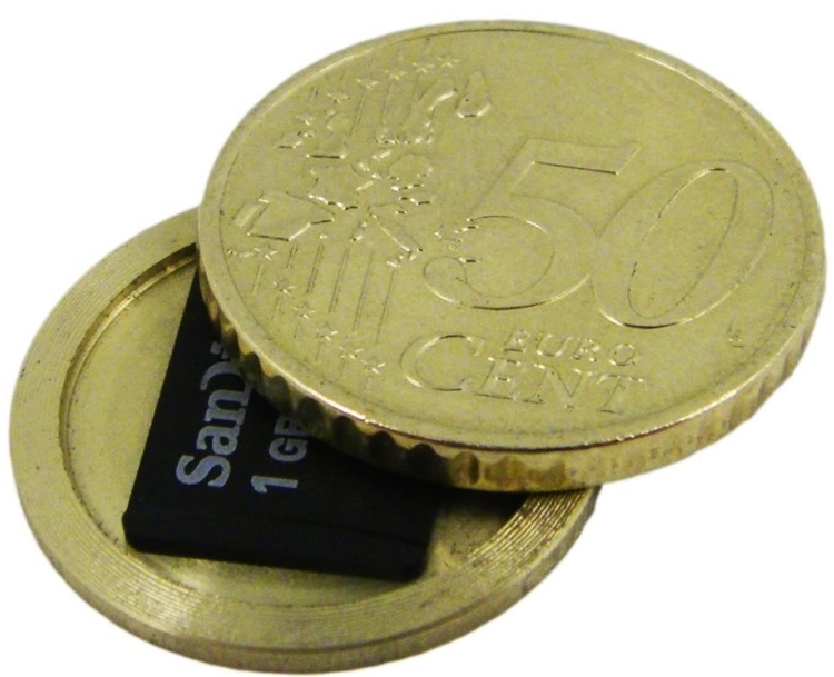 Micro SD Card Covert Spy Coin - Secret Compartment