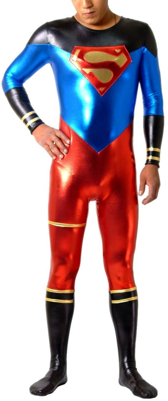 Superhero Costume Skin-tight Shiny Catsuit Inspired By Superman