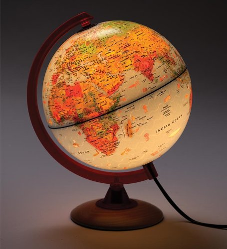 Illuminated Tabletop Globe with Color-Coded