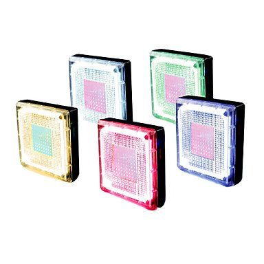 6 - LED Square Stainless Steel Underground Lights Solar Powered