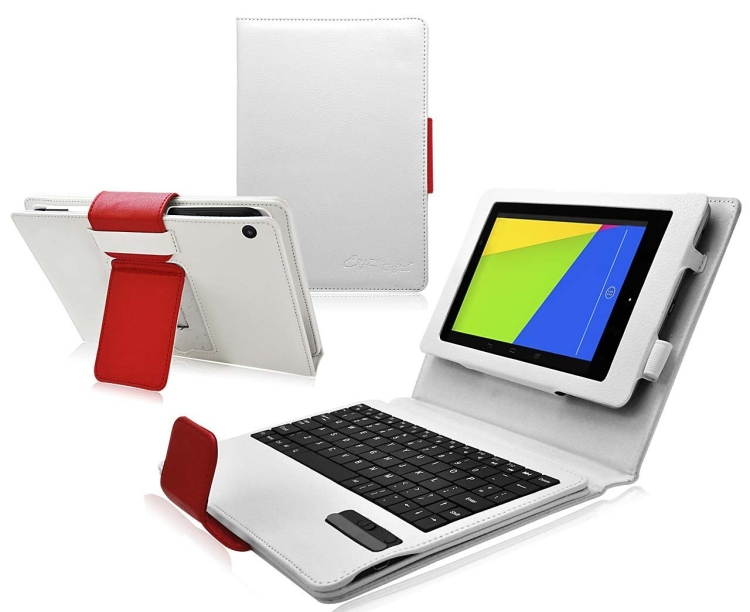 Bluetooth Keyboard Tablet Stand Leather Case for Google Nexus 7 FHD