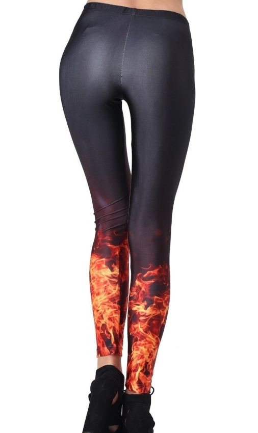 Burining Fire Print Flaming At Crus Leggings