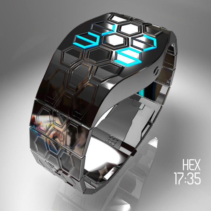 Futuristic Hex LED watch design