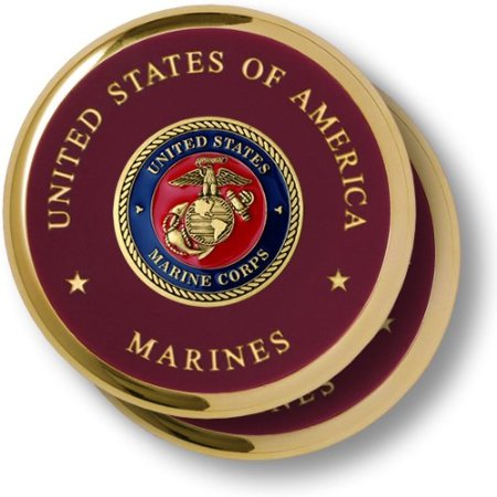 Marine Corps Seal Brass 2 Coaster Set
