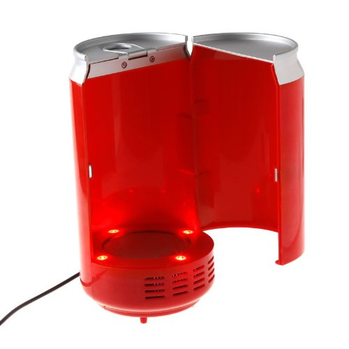 Mini USB PC Fridge Beverage Drink Cans Cooler Warmer Red