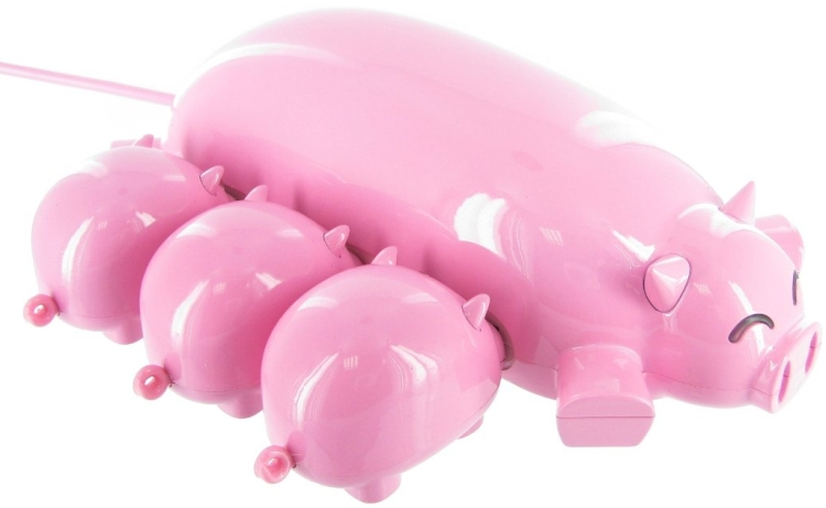 Pig USB Hub with 3 USB TF Card Readers