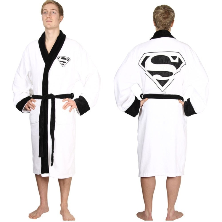 Superman Adult White Towelling Robe