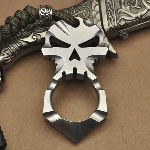 Titanium Ti Ferocious Skull Skeleton Pendant Keychain