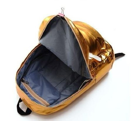 Gold Fashion Patent Leather Backpack
