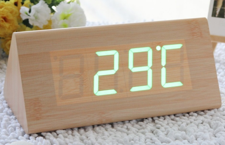 Fashion Bamboo Triangle Green LED Wooden Imitation Alarm Clock