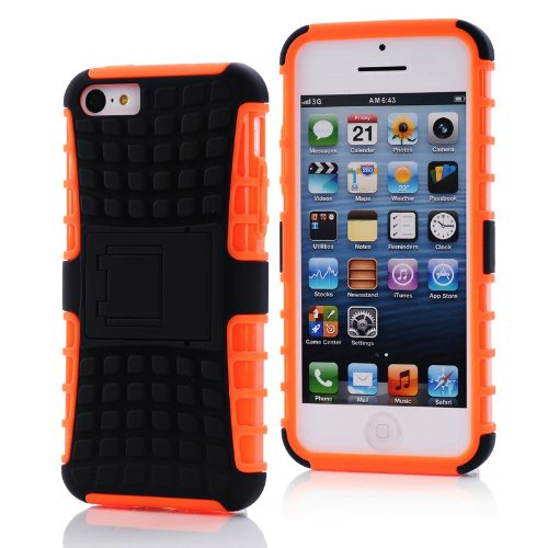 Iphone 5c Case Orange 2 in 1 TPU Stand Kickstand Defender Silicon