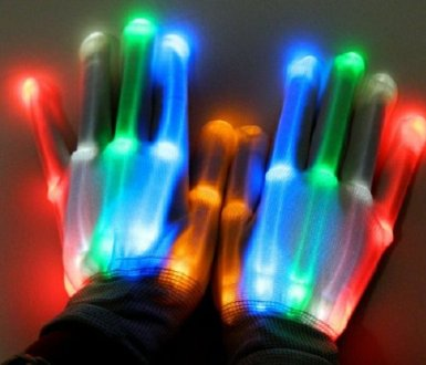 LED Light-Up Rainbow Multicolor Gloves