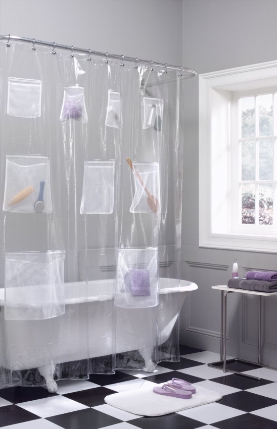 Pockets PEVA Shower Curtain
