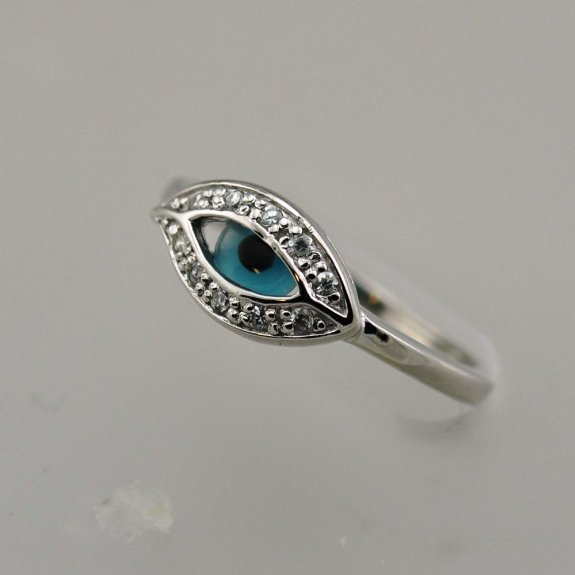 Silver Cz Evil Eye Ring