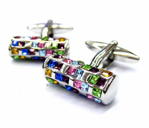 Tailor B Multi Color Crystals Tube Cufflinks 72 Stones