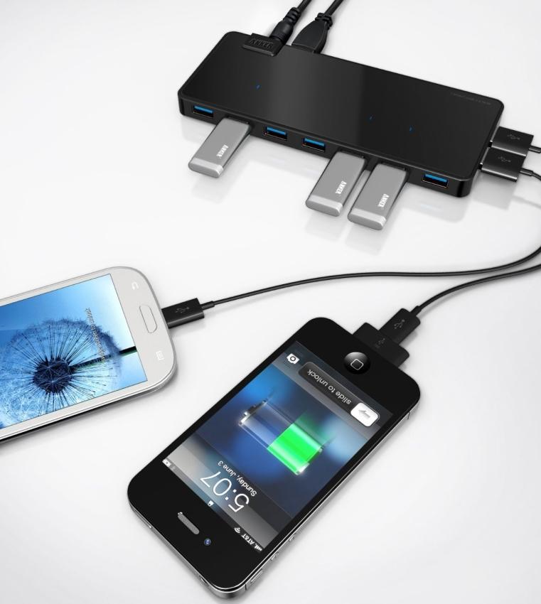 USB 3.0 7-Port Hub 2 Charge