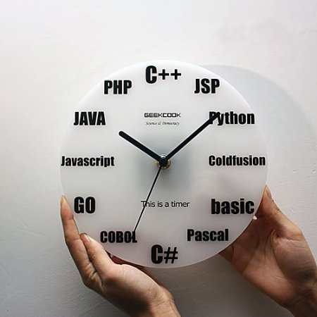 Wall Clock Acrylic White Program Language