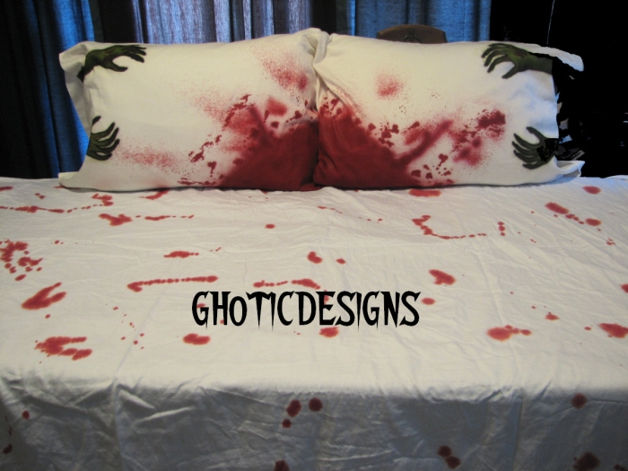 Zombie SHEETS ONLY Full size and pair of zombie pillows cases
