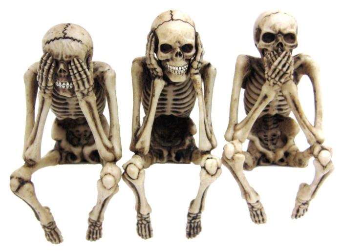 3 Skeleton Computer Toppers See Speak Hear No Evil