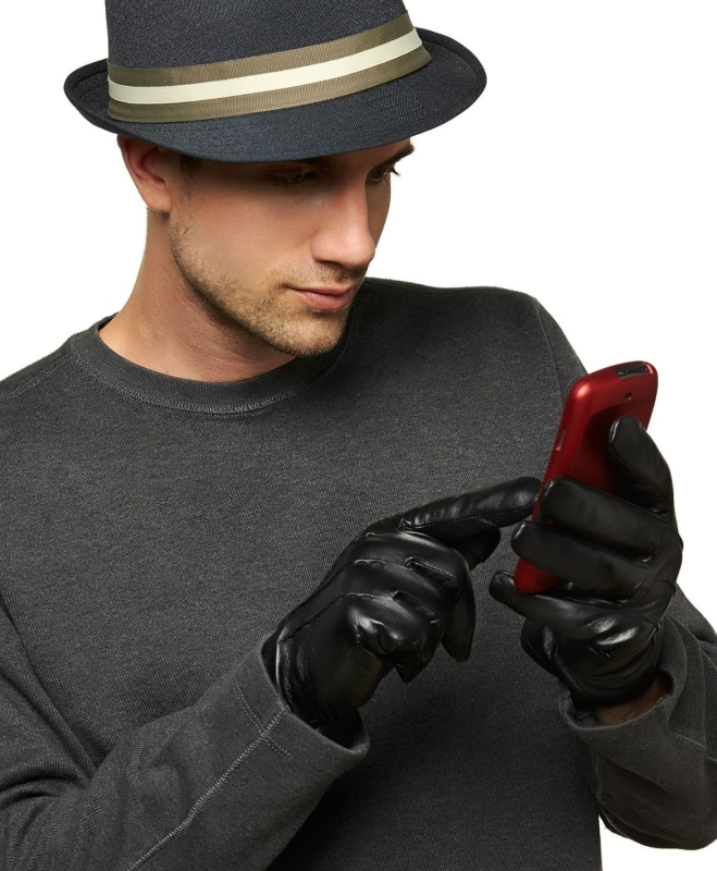 Men's Wool Lined Touchscreen Leather Gloves