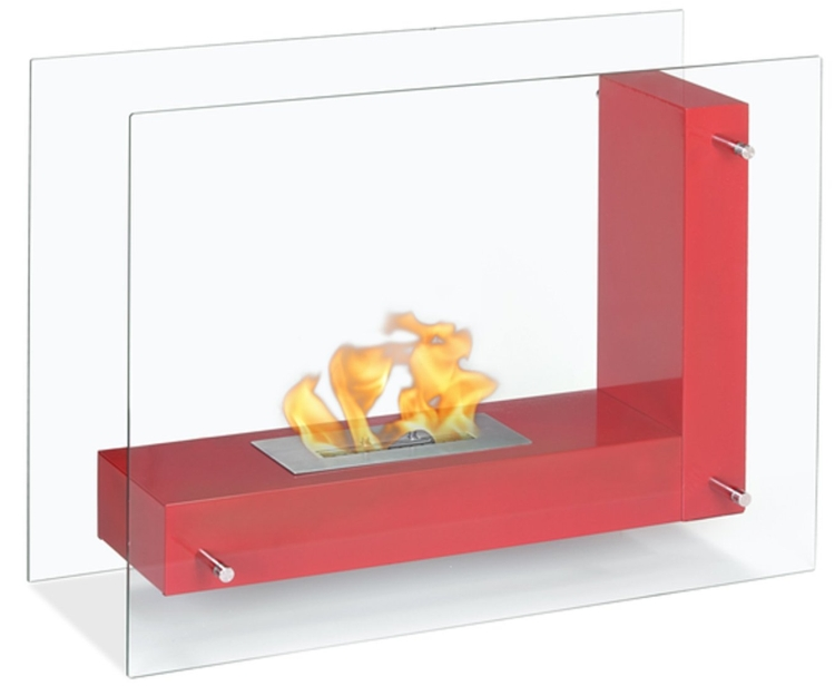 Red Freestanding Ventless Ethanol Fireplace
