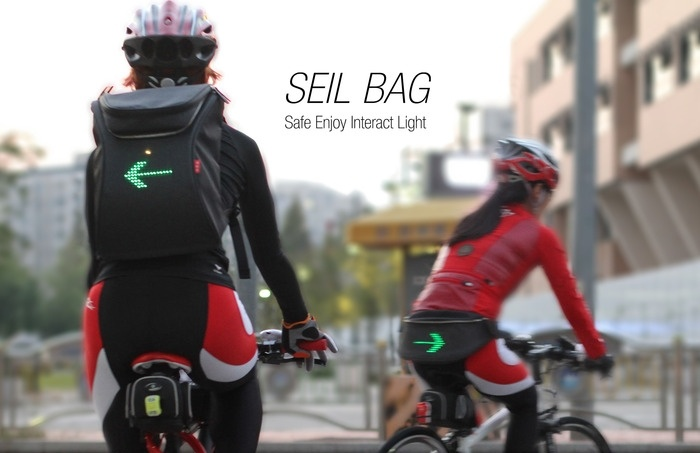 SEIL Bag is a Wearable Signal Light for Cyclists