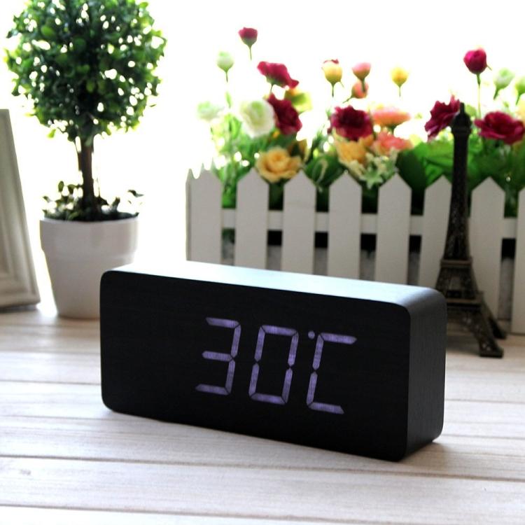 Fashionable Wood Grain LED Alarm Clock