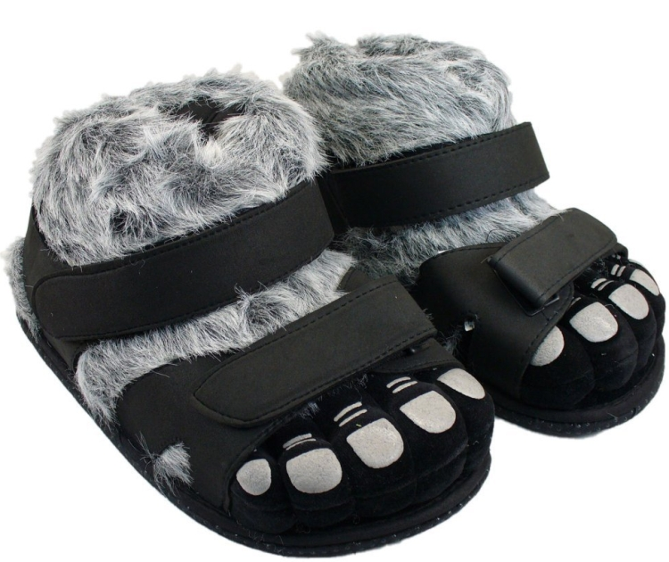 Hairy Feet Black/Gray Slippers