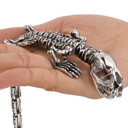 Men's Chain Silver Dragon Skull