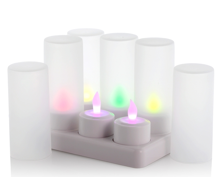 "Multi-Color LED Candles with Charging Dock ""Cozy Color"""