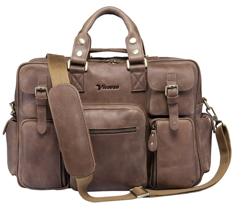 Vicenzo Leather Briefcase Messenger Laptop Bag