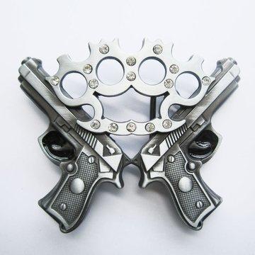 Belt Buckle Rhinestones Knuckle With Guns