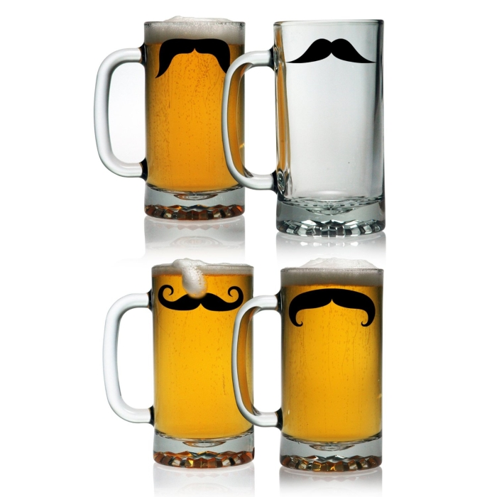 Glass Moustaches Pub Beer Mugs