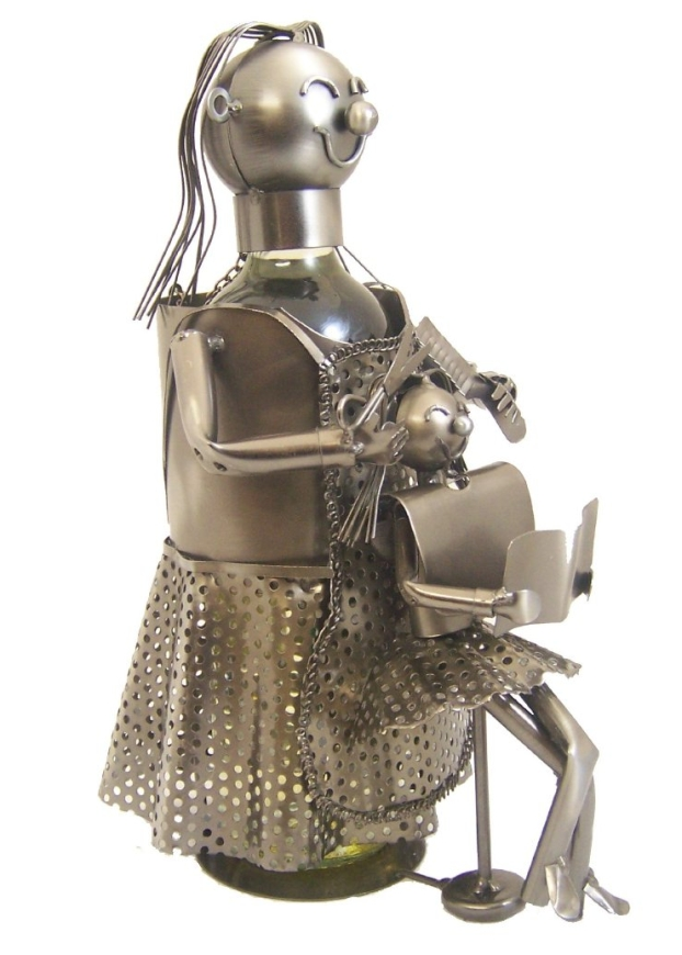 Lady Hairdresser Working on Girl's Hair Metal Figurine and Wine Bottle Holder