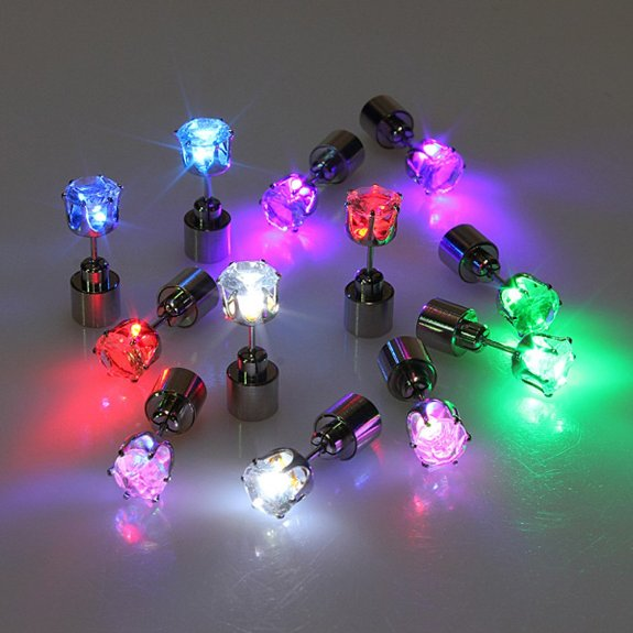 Light UP Glowing CZ Crystal Stud Earrings