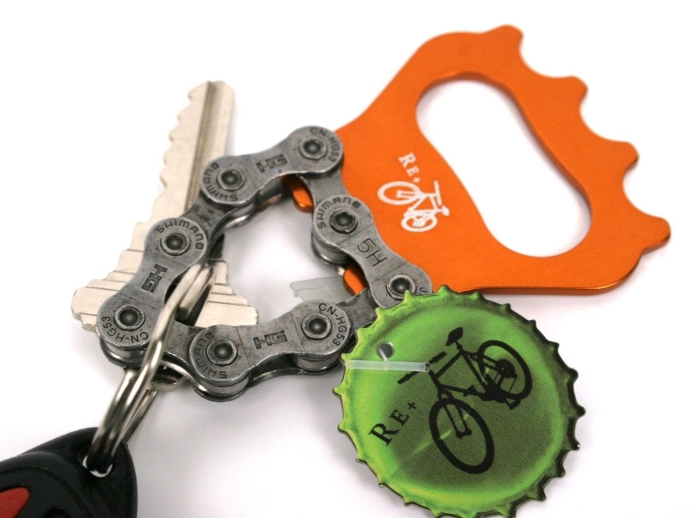 Recycled Bicycle Chain Key Chain Bottle Opener