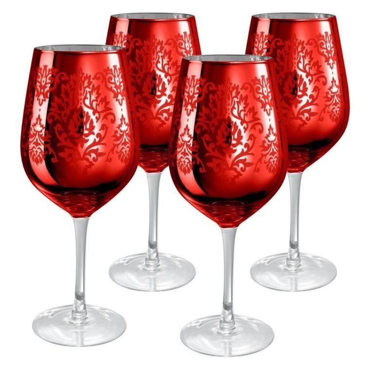 Red Brocade Goblet Glasses