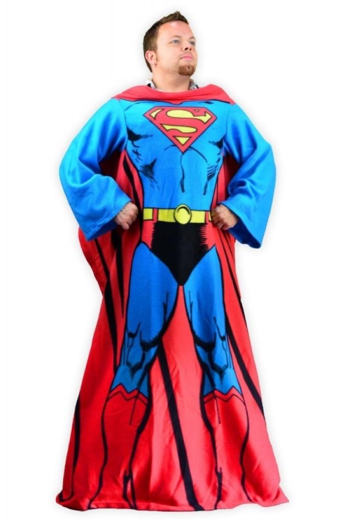 Superman Cozy Fleece Blanket With Sleeves Gadgets Matrix