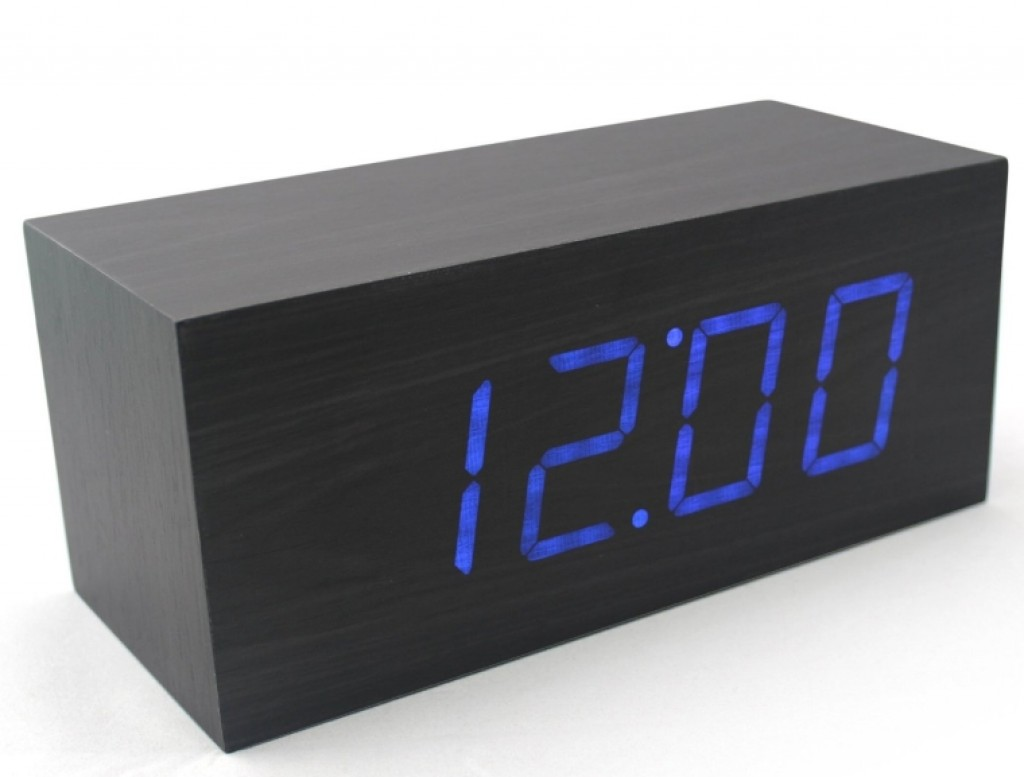 Wood Grain Led Alarm Clock Gadgets Matrix