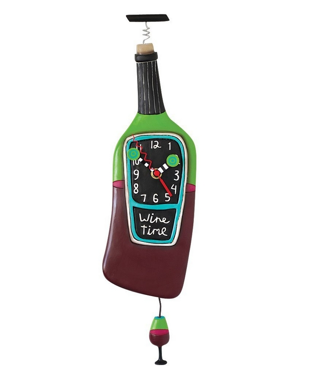 Wine Time Clock Swinging Pendulum