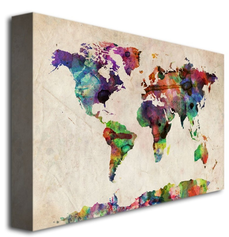 Fine Art Urban Watercolor World Map