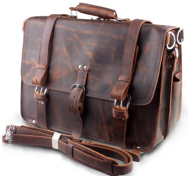 Leather Mens Large Business Travel Messenger Bag Backpack